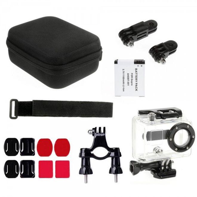 15 in 1 Accessoires Zubehör Kit mit wasserdichtem Gehäuse, kleiner Tasche, etc. für die GoPro Hero 2