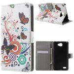 LG Bello 2/Prime 2/Max Leder Flip Cover Case Hülle mit Schmetterlingen und Kreisen