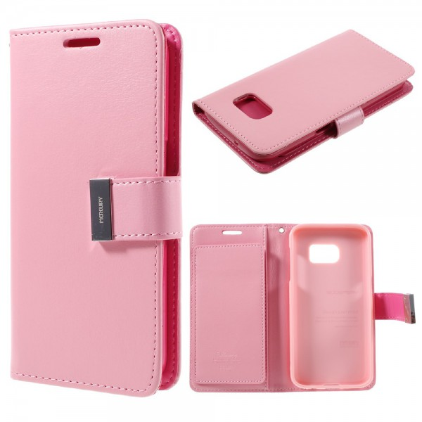 Goospery Samsung Galaxy S7 Mercury Goospery Rich Diary Series Leder Cover Case - pink