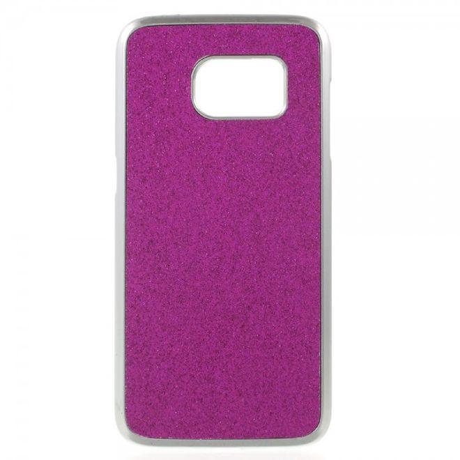 Samsung Galaxy S7 Hart Plastik Case Hülle mit lederartiger Oberfläche und Glitzerstaub - rosa