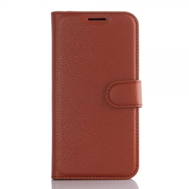 Samsung Galaxy S7 Edge Moderne Leder Cover Handyhülle mit Litchitextur und Standfunktion - braun