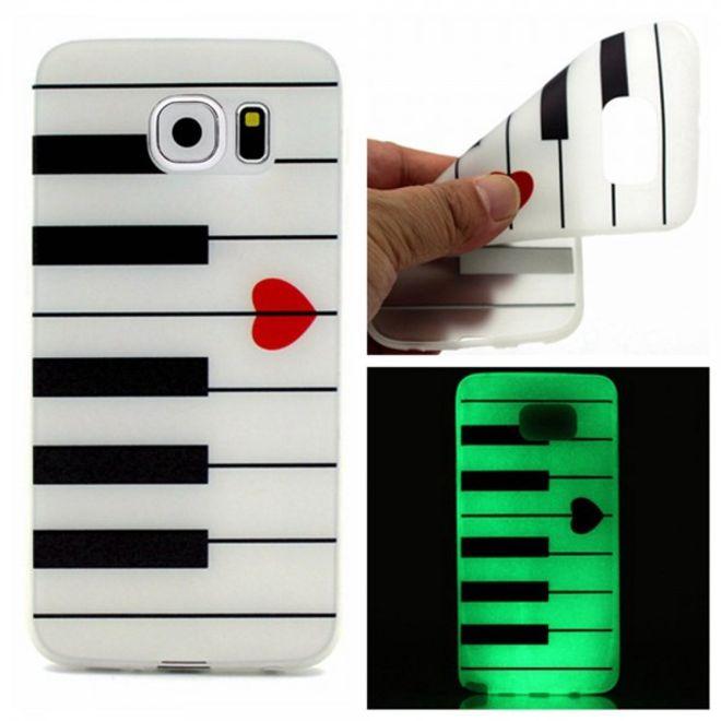 Samsung Galaxy S7 Edge Elastische, leuchtende Plastik Case Hülle mit Klaviertasten