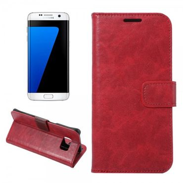 Samsung Galaxy S7 Edge Moderne Crazy Horse Leder Cover Handyhülle - rot