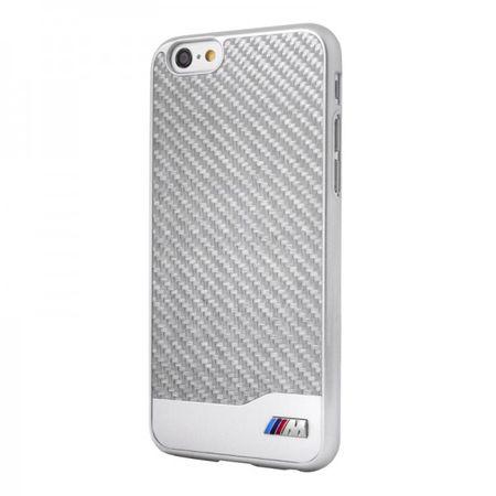 iPhone 6/6S BMW M Karbon Effekt Hart Plastik Case Hülle - silber