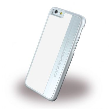 iPhone 6/6S Corvette Silber Brushed Aluminium Hart Case Hülle - weiss