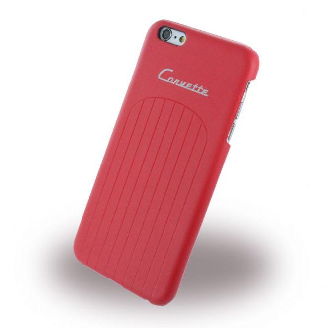 Corvette iPhone 6/6S Corvette C1 Club Hart Plastik Case Hülle mit Lederüberzug - rot