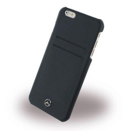 iPhone 6 Plus/6S Plus Mercedes Benz Pure Line Hart Plastik Case Hülle mit Lederüberzug - schwarz
