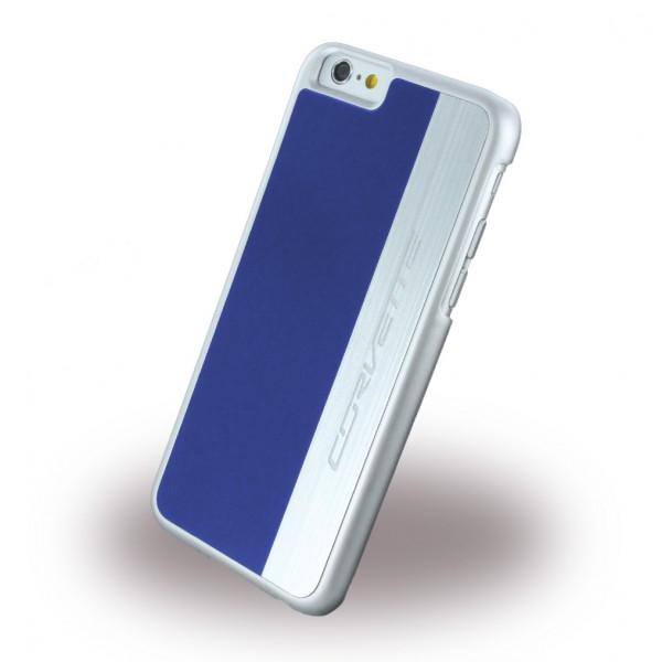 Corvette iPhone 6 Plus/6S Plus Corvette Silver Brushed Aluminium Hart Case Hülle - blau