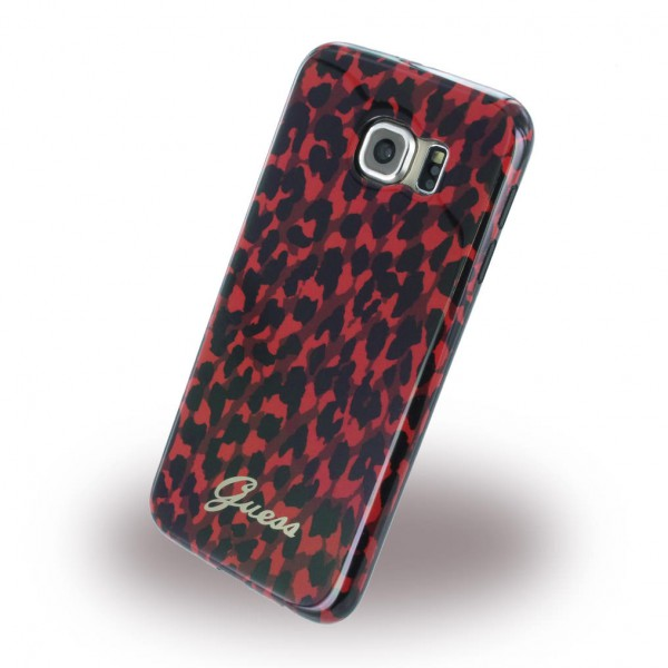 Guess Samsung Galaxy S6 Guess Animal Leopard Elastische Plastik Case Hülle - rot