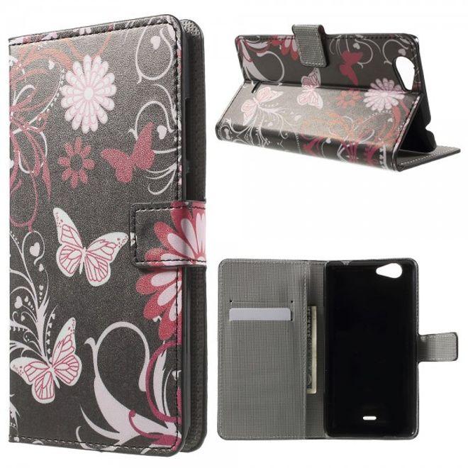 Wiko Pulp Fab 4G Leder Cover Handyhülle mit Schmetterlingen und Blumen