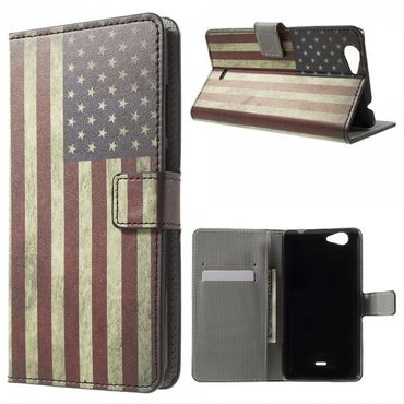 Wiko Pulp Fab 4G Leder Cover Handyhülle mit USA Flagge im Retrolook