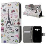Samsung Galaxy Xcover 3 Schicke Leder Case Hülle mit Eiffelturm und kleinen Sujets