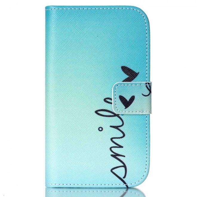 Samsung Galaxy Xcover 3 Leder Cover Hülle mit Schmetterling und Schriftzug