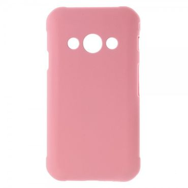 Samsung Galaxy Xcover 3 Gummierte Hart Plastik Cover Smartphone Hülle - pink
