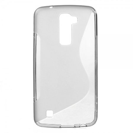 LG K10 Elastische Plastik Cover Gummihülle S-Curve - grau