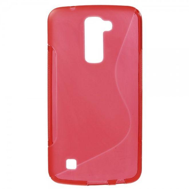 LG K10 Elastische Plastik Cover Gummihülle S-Curve - rot