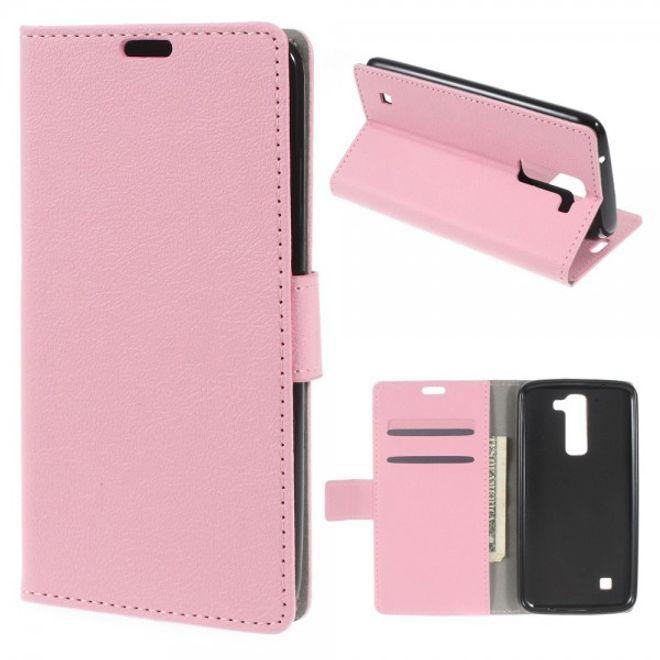 LG K7 Magnetische Leder Cover Hülle mit Standfunktion - pink