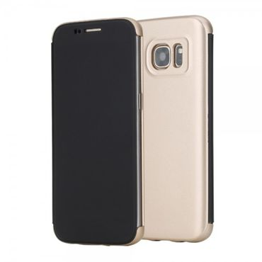Samsung Galaxy S7 Rock Invisible View Series Plastik Flip Case Hülle - gold