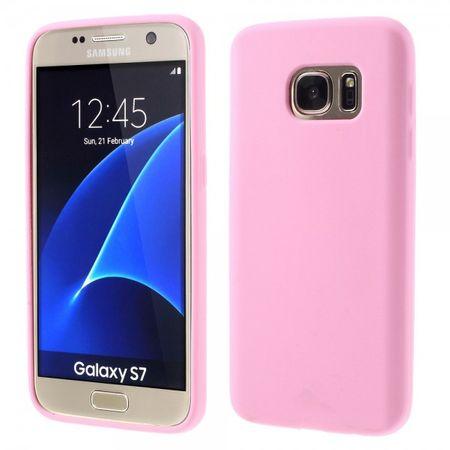 Samsung Galaxy S7 Einfarbige Silikon Case Gummihülle - pink