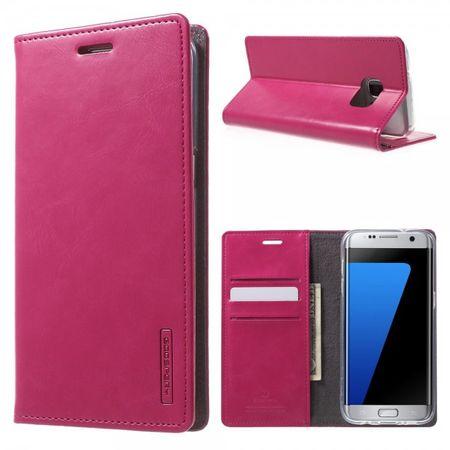 Samsung Galaxy S7 Edge Mercury Goospery Blue Moon Series Leder Case mit Kreditkartenslots - rosa