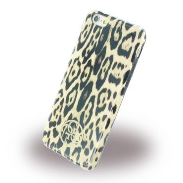 iPhone 6/6S Guess Animal Leopard Elastische Plastik Case Hülle - braun