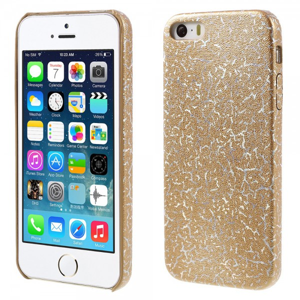 iPhone SE/5S/5 Hart Plastik Cover Hülle mit Blitzmuster - gold