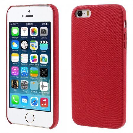 iPhone SE/5S/5 Hart Plastik Case Hülle mit lederartiger Oberfläche und Jeans Muster - rot