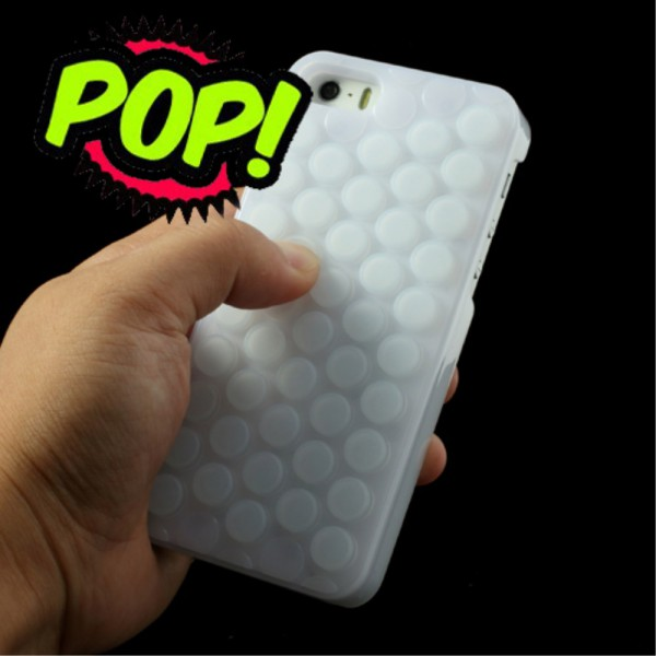 iPhone SE/5S/5 Witzige Plastik Case Hülle mit Bubble Wrap Pop Sound - weiss