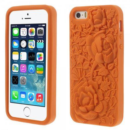 iPhone SE/5S/5 Silikon Case Gummihülle mit 3D Blumenmuster - orange