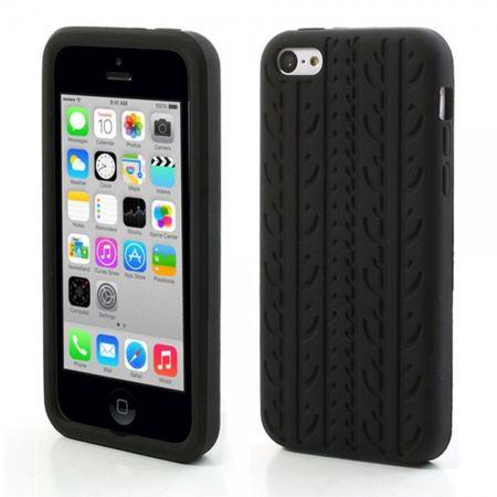 iPhone 5C Silikon Case Gummihülle mit Reifenmuster - schwarz