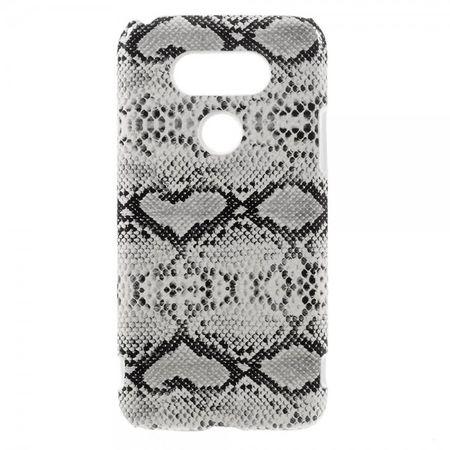 LG G5 Hart Plastik Case Hülle mit lederartigem Bezug und Schlangentextur - weiss