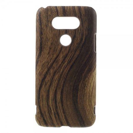 LG G5 Hart Plastik Case Hülle mit lederartigem Bezug und Holzmuster - kaffeefarben