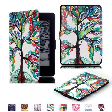 Amazon Kindle Paperwhite 1/2/3 Leder Flip Smart Case Hülle mit farbenfrohem Baum