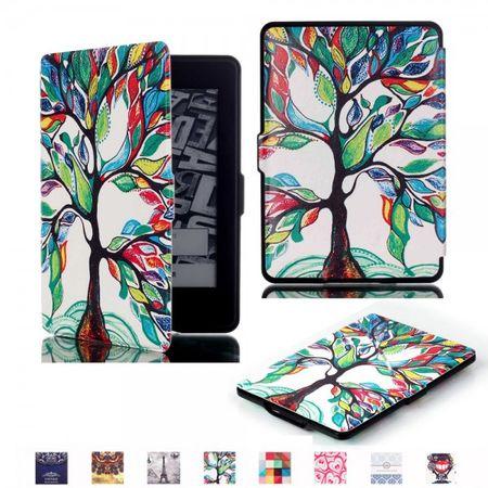 Amazon Kindle Paperwhite 1/2/3 Leder Flip Smart Case Hülle mit farbenfrohem Baum