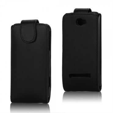 HTC Windows Phone 8S Leder Flip Case Hülle vertikal - schwarz
