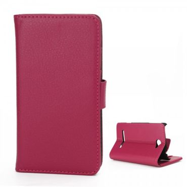 HTC Windows Phone 8S Schicke Leder Cover Hülle mit Litchitextur und Standfunktion - rosa