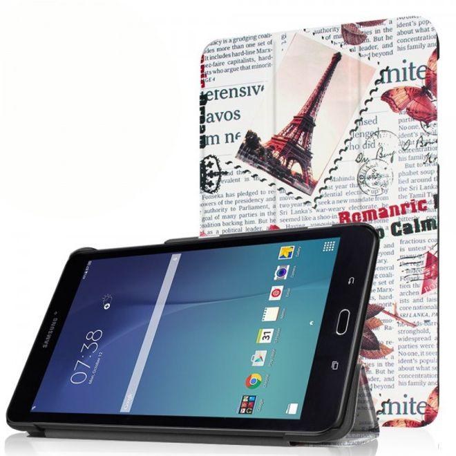 Samsung Galaxy Tab E 8.0 Dreifach faltbare Leder Cover Flip Hülle mit Zeitung und Stempel