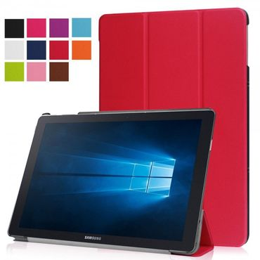 Samsung Galaxy TabPro S Dreifach faltbare Leder Case Tablet Hülle mit Standfunktion - rot