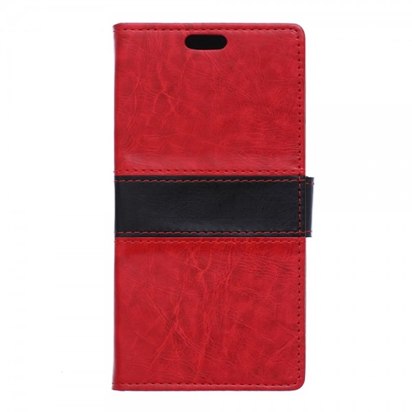 Microsoft Lumia 850 Zweifarbige Crazy Horse Leder Case Hülle mit Standfunktion - rot