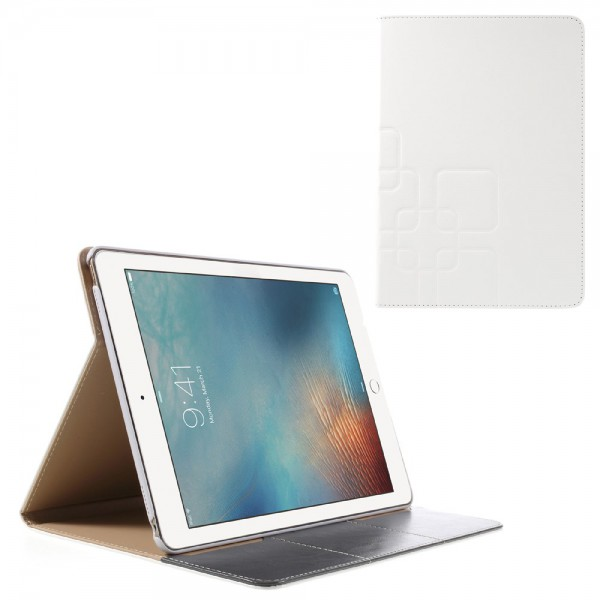 iPad Pro 9.7 Crazy Horse Smart Leder Cover Case mit Standfunktion und Rastermuster - weiss