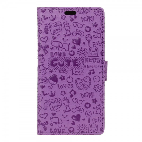 Sony Xperia X Leder Flip Case mit Cartoon Muster - purpur