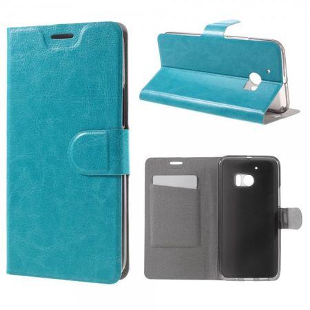HTC 10 Schicke Crazy Horse Leder Case Handy Hülle mit Standfunktion - blau