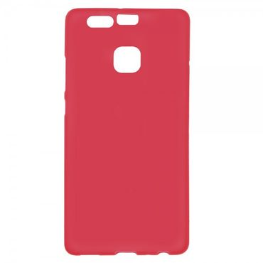Huawei P9 Elastische, matte Plastik Cover Hülle - rot