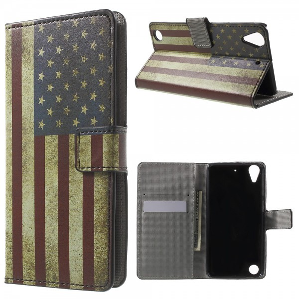 HTC Desire 530/630 Leder Case Hülle mit USA Flagge im Retrolook