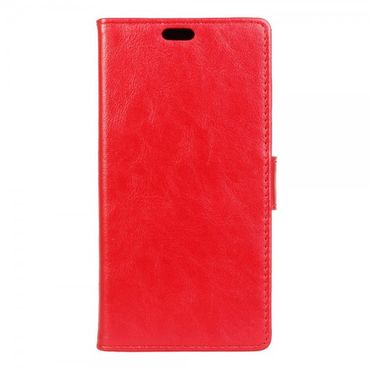 HTC Desire 530/630 Schicke Crazy Horse Leder Cover Hülle mit Standfunktion - rot