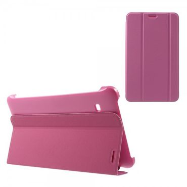 Samsung Galaxy Tab E 8.0 Schicke, dreifach faltbare Leder Cover Hülle mit Standfunktion - rosa