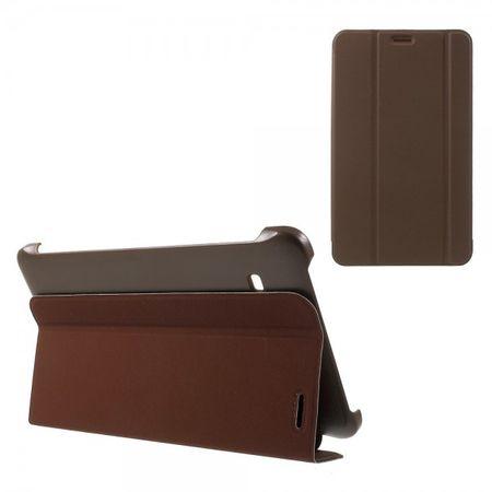 Samsung Galaxy Tab E 8.0 Schicke, dreifach faltbare Leder Cover Hülle mit Standfunktion - braun