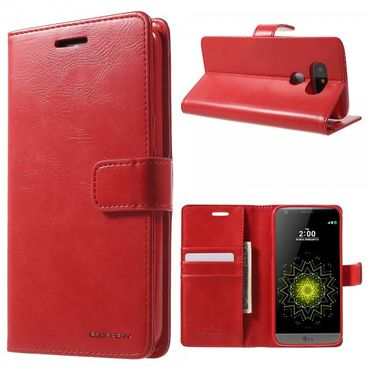 LG G5 Mercury Goospery Blue Moon Series Leder Cover Hülle mit Standfunktion - rot