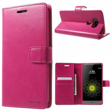 LG G5 Mercury Goospery Blue Moon Series Leder Cover Hülle mit Standfunktion - rosa