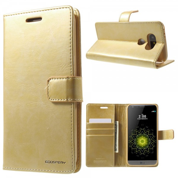 Goospery LG G5 Mercury Goospery Blue Moon Series Leder Cover Hülle mit Standfunktion - gold